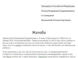 Как написать президенту России
