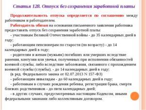 Отпуск без сохранения заработной платы ТК РФ – правовые аспекты